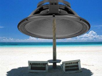 Sombrilla Altavoz, para tomar el sol con música
